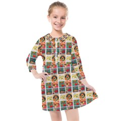 Victorian Fruit Labels Kids  Quarter Sleeve Shirt Dress