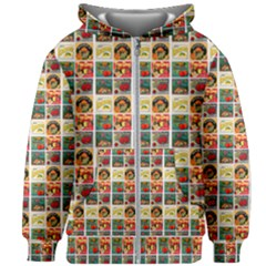 Victorian Fruit Labels Kids Zipper Hoodie Without Drawstring