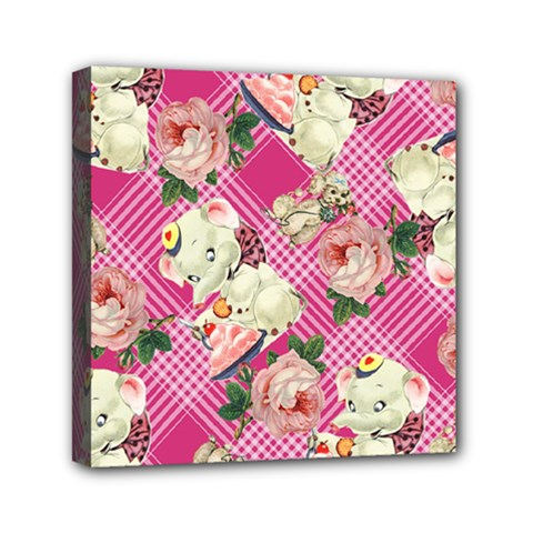 Retro Pets Plaid Pink Mini Canvas 6  X 6  (stretched)