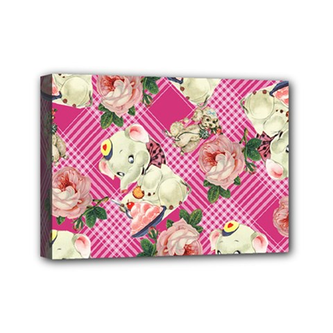 Retro Pets Plaid Pink Mini Canvas 7  X 5  (stretched)
