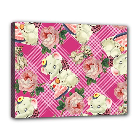 Retro Pets Plaid Pink Canvas 14  X 11  (stretched)