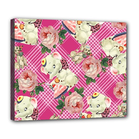 Retro Pets Plaid Pink Deluxe Canvas 24  X 20  (stretched)