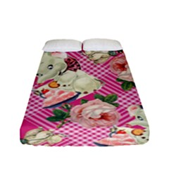 Retro Pets Plaid Pink Fitted Sheet (full/ Double Size)