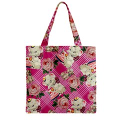 Retro Pets Plaid Pink Zipper Grocery Tote Bag