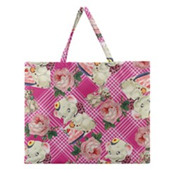 Retro Pets Plaid Pink Zipper Large Tote Bag