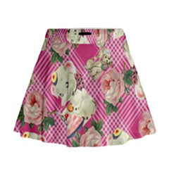 Retro Pets Plaid Pink Mini Flare Skirt