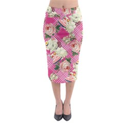 Retro Pets Plaid Pink Midi Pencil Skirt