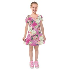Retro Pets Plaid Pink Kids  Short Sleeve Velvet Dress
