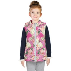 Retro Pets Plaid Pink Kid s Hooded Puffer Vest