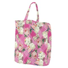Retro Pets Plaid Pink Giant Grocery Tote