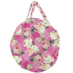 Retro Pets Plaid Pink Giant Round Zipper Tote