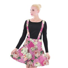 Retro Pets Plaid Pink Suspender Skater Skirt