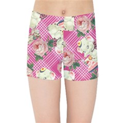 Retro Pets Plaid Pink Kids Sports Shorts