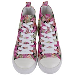 Retro Pets Plaid Pink Women s Mid Top Canvas Sneakers