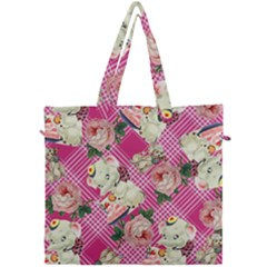 Retro Pets Plaid Pink Canvas Travel Bag