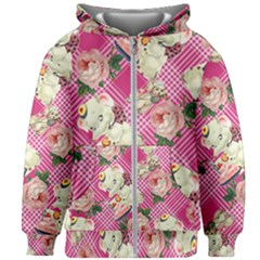 Retro Pets Plaid Pink Kids Zipper Hoodie Without Drawstring
