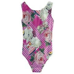 Retro Pets Plaid Pink Kids  Cut Out Back One Piece Swimsuit