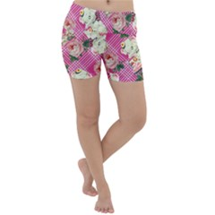 Retro Pets Plaid Pink Lightweight Velour Yoga Shorts