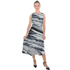 Space Orca Midi Tie Back Chiffon Dress
