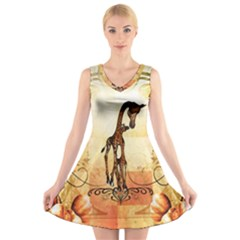 Cute Giraffe Mum With Funny Giraffe Baby V Neck Sleeveless Dress