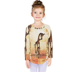 Cute Giraffe Mum With Funny Giraffe Baby Kids  Long Sleeve Tee