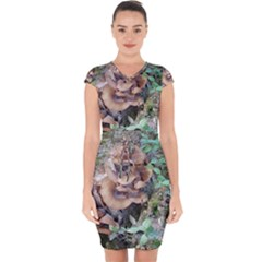 Abstract Of Mushroom Capsleeve Drawstring Dress