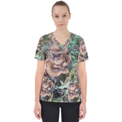 Abstract Of Mushroom Women s V-neck Scrub Top