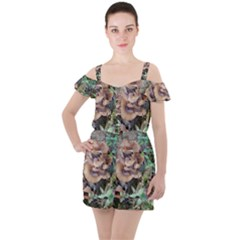 Abstract Of Mushroom Ruffle Cut Out Chiffon Playsuit by canvasngiftshop