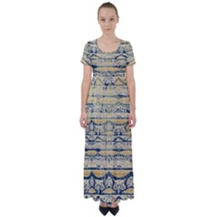 Blue Jean On Gold Seamless Nature Bigger By Flipstylez Designs High Waist Short Sleeve Maxi Dress by flipstylezdes