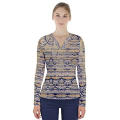 Blue Jean On Gold Seamless Nature Bigger By Flipstylez Designs V Neck Long Sleeve Top