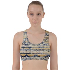 Blue Jean On Gold Seamless Nature Bigger By Flipstylez Designs Back Weave Sports Bra by flipstylezdes