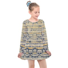 Blue Jean On Gold Seamless Nature Bigger By Flipstylez Designs Kids  Long Sleeve Dress by flipstylezdes
