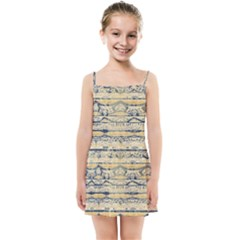 Blue Jean On Gold Seamless Nature Bigger By Flipstylez Designs Kids Summer Sun Dress by flipstylezdes