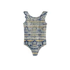 Blue Jean On Gold Seamless Nature Bigger By Flipstylez Designs Kids  Frill Swimsuit by flipstylezdes