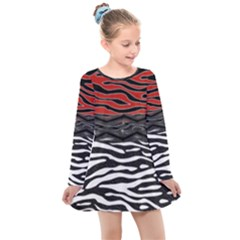 Black And Red Zebra Stripes  Pattern By Flipstylez Designs Kids  Long Sleeve Dress