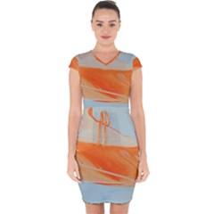 Orange And Blue Capsleeve Drawstring Dress