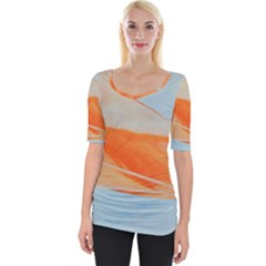 Orange And Blue Wide Neckline Tee