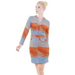 Orange And Blue Button Long Sleeve Dress