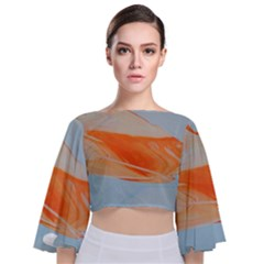 Orange And Blue Tie Back Butterfly Sleeve Chiffon Top
