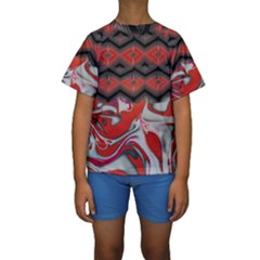 Red Swirls Designs By Flipstylez Designs Kids  Short Sleeve Swimwear