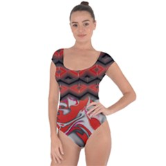 Red Swirls Designs By Flipstylez Designs Short Sleeve Leotard