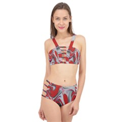 Elegant Red Swirls By Flipstylez Designs Cage Up Bikini Set