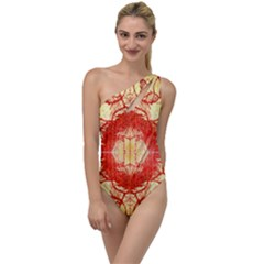 Seamless Red And Gold By Flipstylez Designs To One Side Swimsuit