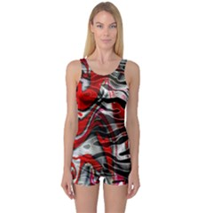 Retro Red Swirl Design By Flipstylez Designs One Piece Boyleg Swimsuit