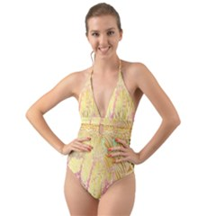 Gold Seamless Lace Tropical Colors By Flipstylez Designs Halter Cut Out One Piece Swimsuit