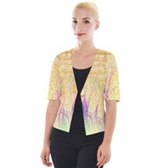 Gold Seamless Lace Tropical Colors By Flipstylez Designs Cropped Button Cardigan
