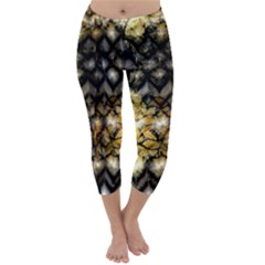 Black Zig Zag Blurred On Gold Crush Flowers By Flipstylez Designs Capri Winter Leggings