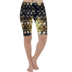 Black Zig Zag Blurred On Gold Crush Flowers By Flipstylez Designs Cropped Leggings
