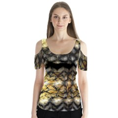 Black Zig Zag Blurred On Gold Crush Flowers By Flipstylez Designs Butterfly Sleeve Cutout Tee