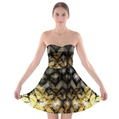 Black Zig Zag Blurred On Gold Crush Flowers By Flipstylez Designs Strapless Bra Top Dress